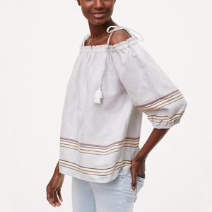 LOFT tassel off the shoulder top blouse